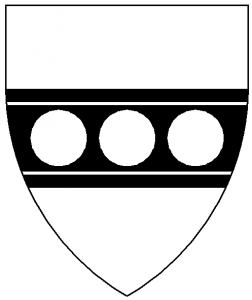 Argent, on a fess cotised sable, three plates.