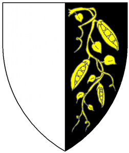 Per pale argent and sable, in sinister a vine of three pea pods Or.