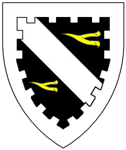 Sable, a bend argent between two prickspurs fesswise reversed Or, a bordure embattled argent.