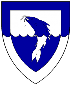Per fess engrailed argent and azure, a natural catfish haurient embowed and a bordure counterchanged.