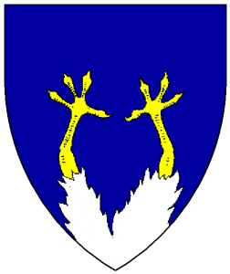 Azure, two chicken's legs inverted conjoined in base and issuant from base a la quise argent armed Or.