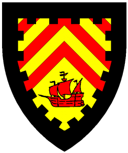 Per chevron chevronelly Or and gules, and Or, in base a ship in full sail gules, all within a bordure embattled sable.
