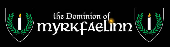 Dominion of Myrkfaelinn; Sable, a candle argent enflamed Or within a laurel wreath vert.