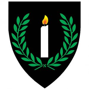 Sable, a candle argent enflamed Or within a laurel wreath vert.