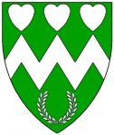 Vert, a fess dancetty between three hearts and a laurel wreath argent.