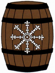 Fieldless, on a barrel palewise proper, an escarbuncle argent.