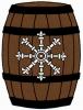 Fieldless, on a barrel palewise proper, an escarbuncle argent.