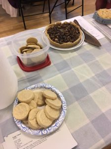 Cookies and meat pie.