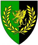 Per pale vert and sable, a dragon rampant within a laurel wreath Or.