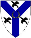 Argent, on a pall azure between three ravens volant sable a laurel wreath Or.
