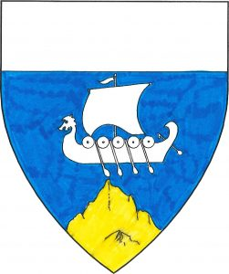 Azure, a drakkar argent and a mountain Or, a chief argent.
