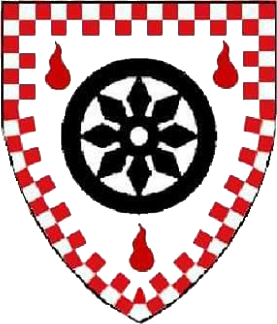 Argent, a wheel sable between three gouttes de sang, a bordure counter company gules and argent.