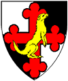 Quarterly argent and sable, a cross bottony throughout gules and overall a weasel statant erect contourny Or