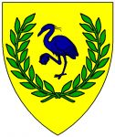 Or, a heron in its vigilance azure within a laurel wreath vert
