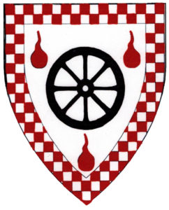 Argent, a wheel sable between three gouttes de sang, a bordure checky gules and argent.